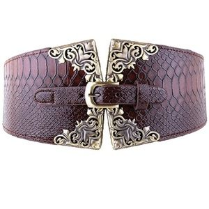 Brown Filgaree Crocodile Wide Buckle Corset Belt